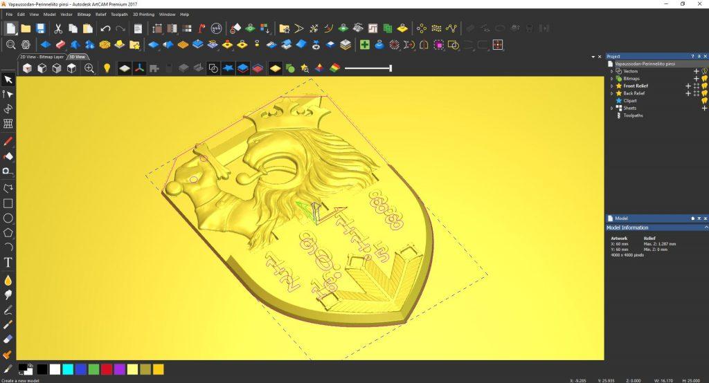 Vapaussodan Perinneliiton Satavuotis rintamerkin 3D kuva